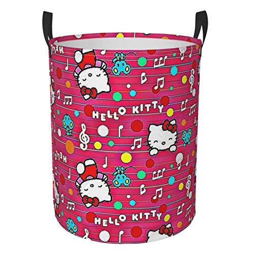 Cesta para la colada de Hello Kitty para niños y niñas, impermeable, para almacenamiento de habitación de los niños, organizador para el hogar, baño circular grande