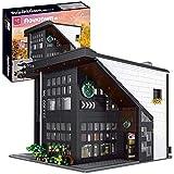 Modelo de arquitectura de bloques de construcción de casas, modelo arquitectónico modular bloques construcción café con luz, más de 2728 piezas compatibles con Lego A,27 * 25 * 21cm