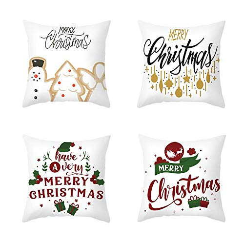 New 4 Piece Set Cartoon Printed Cotton Linen Christmas Pillowcase Office Sofa Cushion Cover 18 X 18 Inches Cushion Cover-Style:4