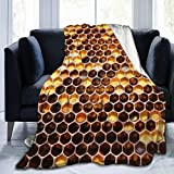 YEGFTSN Bees Honeycomb Throw Blanket Ultra-Soft Cozy Lightweight Micro Sherpa Plush Fleece Blanket for Bed Soft Couch Living Room,All Season 60'x50'