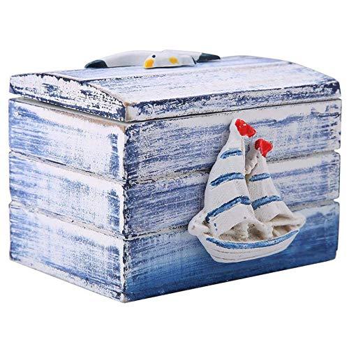 Holz Vintage Schatztruhe Holz Schatztruhe Kinder Deko Holz Schmuckschatulle Holzbox MaritimeMediterranen Stil Desktop Tragbare Kleine Aufbewahrungskoffer FüR Hochzeit Party Leckereien Candy Geschenke