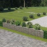 vidaXL Gabion Wall Galvanised Steel 450x30x50cm Stone Basket Raised Bed Cage
