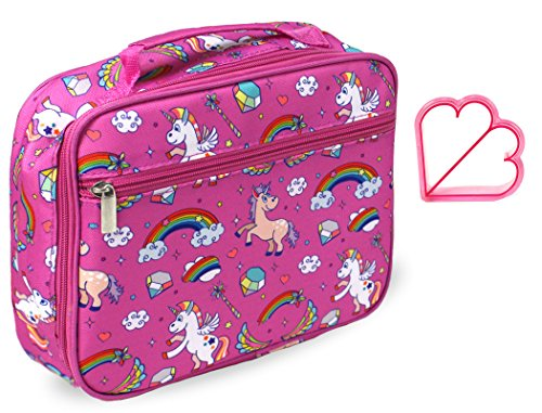 Kids Pink Unicorn Lunch Box Insulated Lunch Bag Tote for Little Girls Toddler Preschool Kindergarten Back to School Lunchbox in Pink Unicorn Rainbow