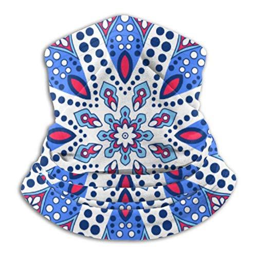 hangong Calentador de cuello de microfibra, tubo de polaina, calentador de oídos, máscara facial, patrón ornamental oriental con cordones