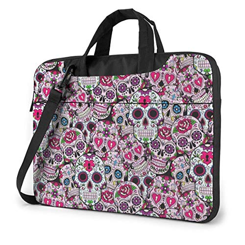 Day of The Dead Sugar Skulls Laptop Sleeve Case 14 Inch Computer Tote Bag Shoulder Messenger Briefcase for Business Travel