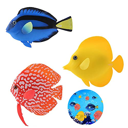 Künstliche Fische für Aquarium Fake Aquarium Fische Aquarien Schwimmende Aquarium Ornamente Silikon Deko Fische Plastik Aquarien Silikon Fische für Aquarium Dekoration Künstliches Fischaquarium 3Stück