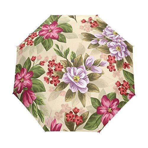 DJMJHG Damen Regenschirm Anti-UV-Schutz Sonnenschirm Lila Damen Rucksack Vollautomatischer Regenschirm 100% Polyester wasserdichteSchokolade