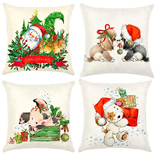 4 pcs fundas navideñas para cojines,funda de almohada decoración para hogar,funda de almohada de navidad,fundas para cojines de sofa,funda de almohada decorativa