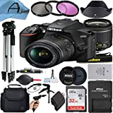 Nikon D3500 DSLR Camera 24.2MP Sensor with NIKKOR 18-55mm f/3.5-5.6G VR Lens, SanDisk 32GB Memory Card, Case, 2 Pcs Tripod, 3 Pack Filters and A-Cell Accessory Bundle (Black)