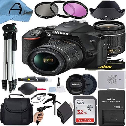 Nikon D3500 DSLR Camera 24.2MP Sensor with NIKKOR 18-55mm f/3.5-5.6G VR Lens, SanDisk 32GB Memory Card, Case, 2 Pcs Tripod, 3 Pack Filters and A-Cell Accessory Bundle (Black)