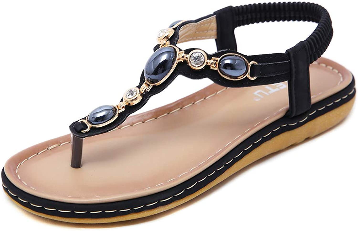 Navoku Women's Bling Beaded Flat Fashion Thong Sandles Sandals