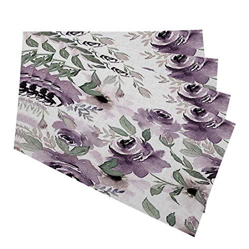 Mugod Floral Placemats Vintage Watercolor Purple Flowers Seamless Pattern Decorative Heat Resistant Non-Slip Washable Place Mats for Kitchen Table Mats Set of 4 12'x18'