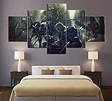 YOUQIANREN Cuadro en Lienzo HD Impresión de 5 Piezas Juego Animati Earth's Dawn de Pinturas en Lienzo Imagen Gráfica Cartel Decorativo Mural Art Room Decoración Salon Enmarcado(150cmx80cm)