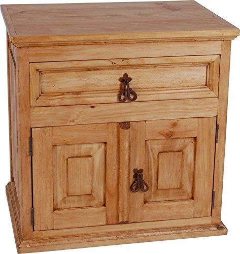 MiaMöbel Nachttisch Mexico Möbel 60x60x42 cm Landhausstil Massivholz Pinie Honig