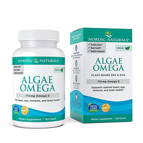 Nordic Naturals Algae Omega - 715 mg Omega-3-120 Soft Gels - Certified Vegan Algae Oil - Plant-Based EPA & DHA - Heart, Eye, Immune & Brain Health - Non-GMO - 60 Servings