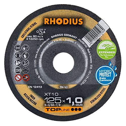 Rhodius XT10 Extended - Discos de corte extra finos para amoladora angular (50 unidades, 125 mm de diámetro)