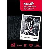 KOALA Papel fotográfico de Brillante, A3, 297x420 mm, 20 hojas, 240 g/m², para impresora de inyección de tinta Canon HP Epson