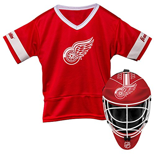 Franklin Sports Detroit Red Wings Kid's Hockey Costume Set - Youth Jersey & Goalie Mask - Halloween Fan Outfit - NHL Official Licensed Product