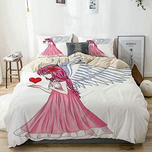 Juego de funda nórdica Beige, personaje de cuento de hadas gemelo Ángel con un vestido rosa sosteniendo un corazón Día de San Valentín románticoRosa rojo blanco, decorativo Juego de cama de 3 piezas c