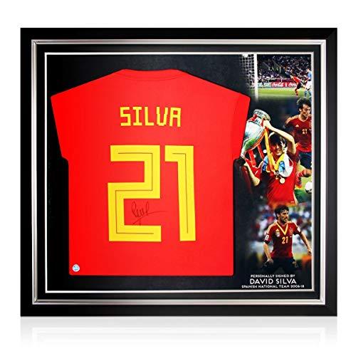 exclusivememorabilia.com Camiseta de fútbol de España 2018-19 firmada por David Silva. Marco Premium