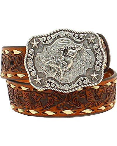 Nocona Boots Boys Boys Brown Floral Tooled Belt with Buckstitching and Buckle 30 Tan