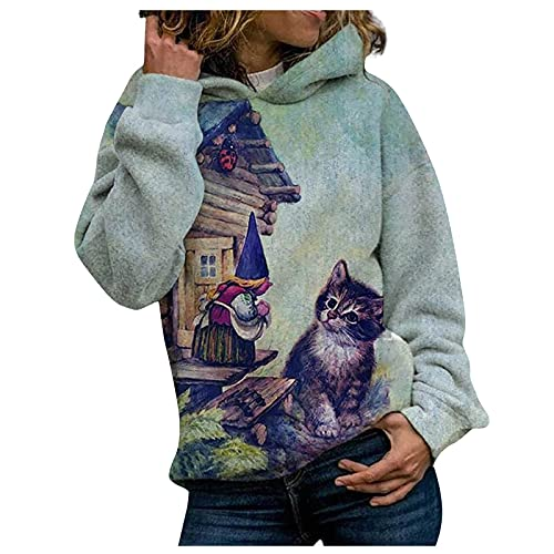 Cute Graphic Print Hoodies for Women Long Sleeve Fall and Winter Warm Comfy Soft Loose Party Casual Fashion Hooded Sweatshirt(Blue,Large)