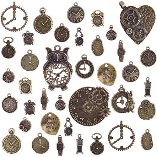 BronaGrand 100g (Acerca de 38pcs) Cara del Reloj Encantos Dijes Mixtos Engranajes Reloj Steampunk Colgantes Accesorios de Estilo Retro para Manualidades Joyas Decoracion