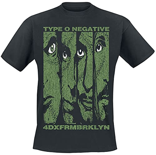 Type O Negative Faces Hombre Camiseta Negro L, 100% algodón, Regular