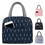 navy blue lunch bag with pocket for cell phone