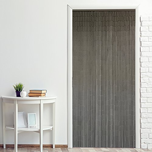"""EVIDECO Bamboo Sticks Beaded Curtain Doorway 65 Strings Grey Taupe 78.8"""" H x 35.5"""" W"""