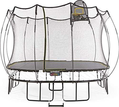 Springfree Trampoline - 11ft Large Square Trampoline With Basketball Hoop and Ladder