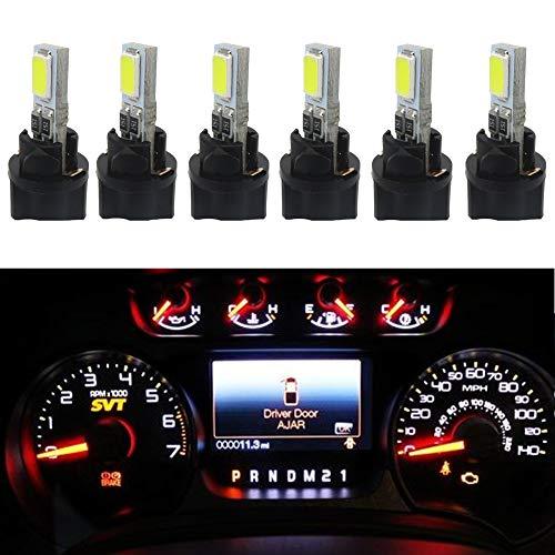 WLJH Lot de 6 ampoules LED blanches T5 73 74 2SMD 5730 pour tableau de bord avec 6 douilles à vis