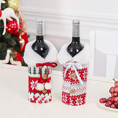 NAIXUE Juego de 2 paquetes de botellas de vino tinto de Navidad de Halloween de punto nórdico, diseño de copo de nieve