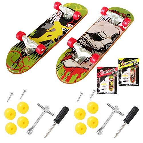 Jutoe Finger Skateboard Mini Griffbrett Mini Fingerboards Skatepark Spielzeug für Kinder als Geburtstag Geschenk (Zufällige Farbe) (1 Pack)