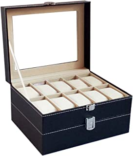 Bloodyrippa Luxury Watch Box, 20 Grids, Double Layer Construction, PU Leather Case Finish, Top Transparent Acrylic Display Window, Metal Lock Organizer