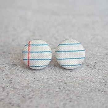 Notebook Fabric Button Earrings
