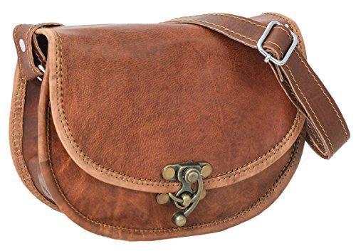 Gusti Handtasche Leder - Rosa Umhängetasche Damen Vintage Braun Leder
