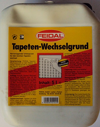 Feidal Tapeten-Wechselgrund / 5 L / hervorragender Untergrund für den leichten Tapetenwechsel / Tapetenwechselgrund ist sehr gut geeignet auf Putze, Gipskarton, Spanplatten , Tischlerplatten