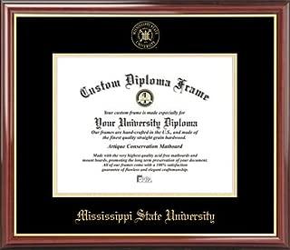 Laminated Visuals Mississippi State University Bulldogs - Embossed Seal - Mahogany Gold Trim - Diploma Frame