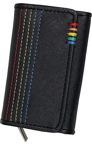 Daylight(デイライト) キーケース メンズ レディース かわいい 革 レザー 財布 小銭入れ 鍵 レインボーステッチ 刺繍 DL-2008 ブラック