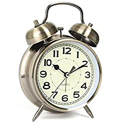 AYRELY Retro 4 inches Twin Bell Super Loud Battery Operated Vintage Alarm Clock,Silent Non-Ticking Analog Quartz with Backlight for Bedroom/Heavy Sleepers (Bronze)