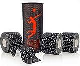 FlexU - Calidad Profesional - Cinta de quinesiología. Black Pre-Cut (Super Saver 3 Roll Pack)