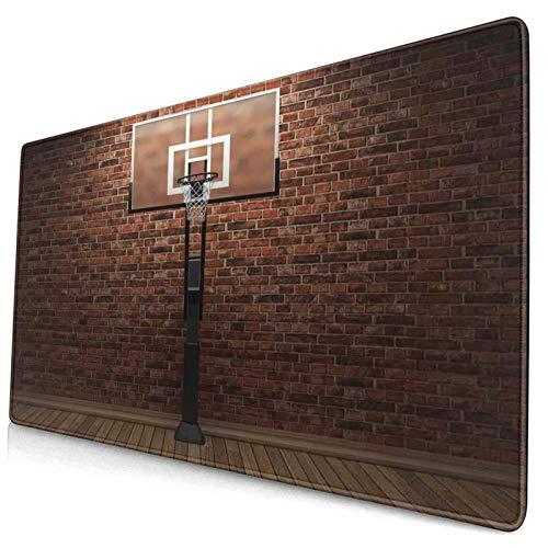 HUAYEXI Alfombrilla Gaming,Estampado Deportivo de Campo de Baloncesto marrón,con Base de Goma Antideslizante,750×400×3mm