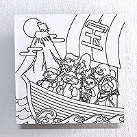 飾れる除菌消臭剤:KESTAS+ルームケア塗り絵用 (M(4〜10畳用), L6:七福神)