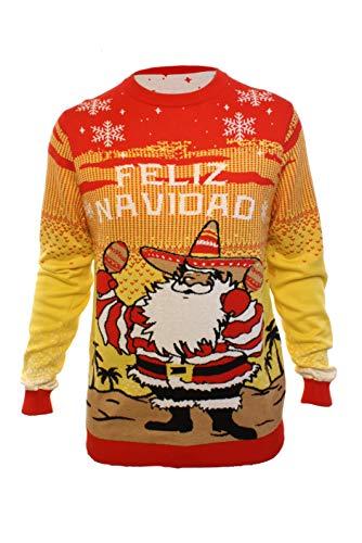 Ugly Christmas Party Sweater Men's Feliz Navidad Pancho Claus Sweatshirt-Small Feliz Navidad Yellow