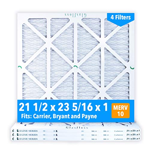 Glasfloss 21-1/2 x 23-5/16 x 1 Air Filters (Case of 4), MERV 10, Pleated, Made in USA - Fits Listed Models of Carrier, Bryant & Payne