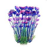 JIH Aquarium Plastic Plants Tall 16 inch, Large Artificial Plants Decoration Ornament for Fish Tank (Purple)