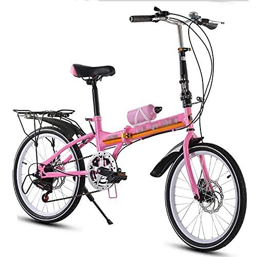 HUAQINEI Bicicleta Bicicleta de 16 Pulgadas Bicicleta de 20 Pulgadas con Rejilla Trasera, Frenos de Doble Disco, Bicicleta Plegable, con Bicicleta de Velocidad Variable, Rosa, 20