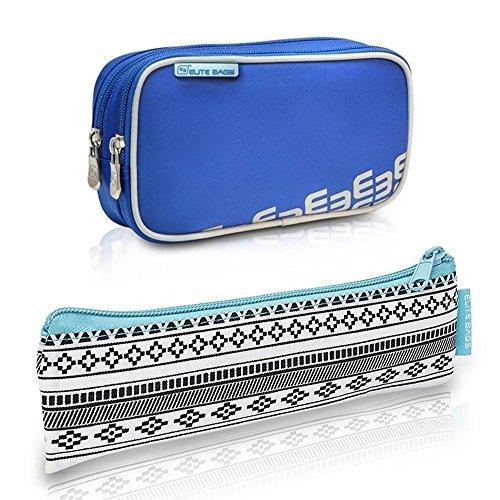 2er Pack Diabetiker Tasche und Etui, Dia's und Insulin´s, Blau und Indiemuster, Polyester und Kohlefaser