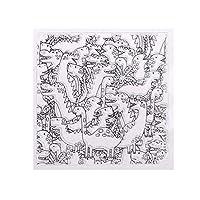 Yueding スクラップブッキング、恐竜シリコーンクリアスタンプエンボスステンシルDIYアルバムフォトギフト招待状カード作成アートクラフト装飾-130x130mm